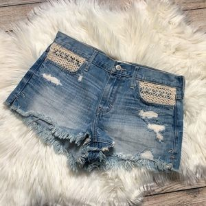 Hollister Crochet Denim Shorts